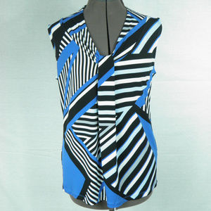 Dana Buchman  Geometric Blue and Black Blouse